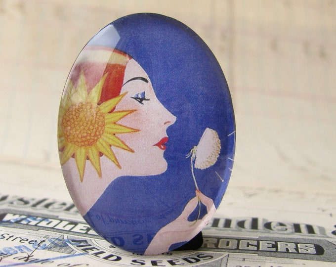 NEW! Vintage magazine cover, handmade 40x30mm glass oval cabochon, blue, woman profile, dandelion, yellow sunflower, make a wish
