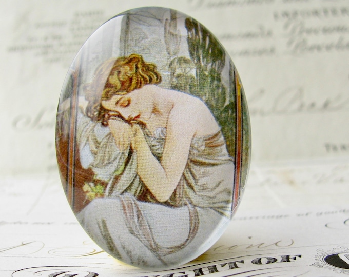 "From our Art Nouveau collection, Alfons Mucha's ""Repos de la Nuit"" sleeping maiden, handmade 40x30 40x30mm glass oval cabochon, green sage"