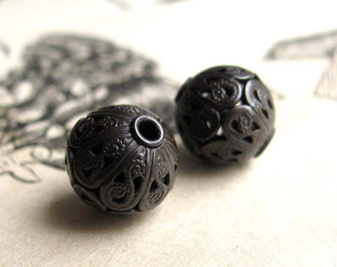 10mm luxury filigree bead with rivets, black oxidized antiqued brass bead, aged black patina (2 round spheres) lead nickel free, made in USA