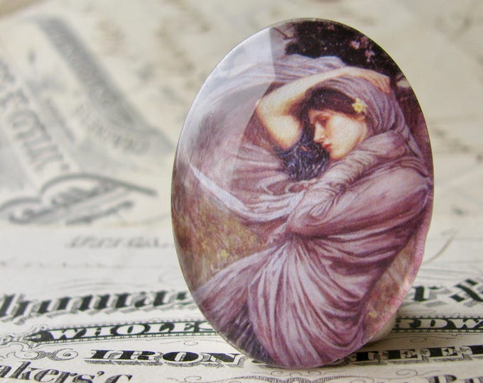 "John William Waterhouse ""Boreas"" 40x30mm glass oval cabochon, artisan crafted in this shop, fine art cabochon, purple, Art History"