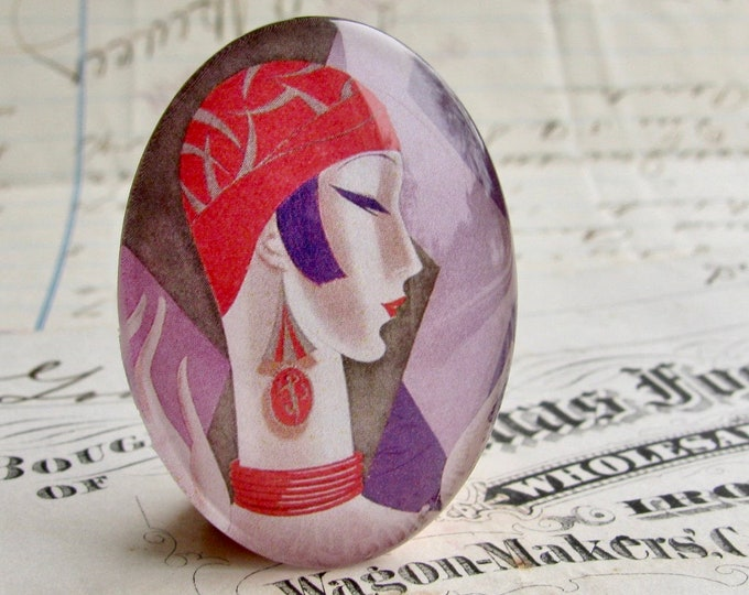 Vintage Vogue magazine cover, handmade 40x30mm glass oval cabochon, red purple, woman profile, Art Deco commercial illustration, 1920s
