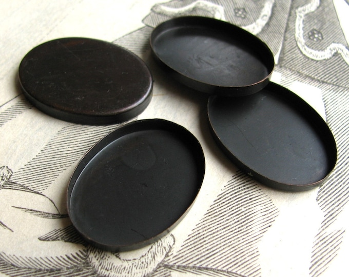 25x18mm plain edge bezel cup settings, flat edge black bezel, dark antiqued brass blanks (4 oval trays) 18x25mm 25mm 18mm