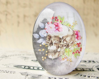 Skull with pink garden flowers, 25x18mm or 40x30mm glass oval cabochon, Day of the Dead, handmade in this shop, feminine macabre, bones rose
