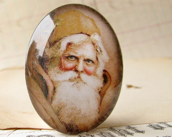 NEW! Victorian Father Christmas handmade glass oval cabochon, 40x30mm, winter holiday, vintage Santa, brown white, 30x40mm, traditional