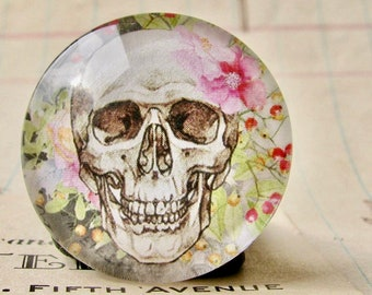 Skull with flowers on grey, handmade glass cabochon, round 25mm cabochon, 1 inch circle, feminine macabre, bones rose, bottle cap size