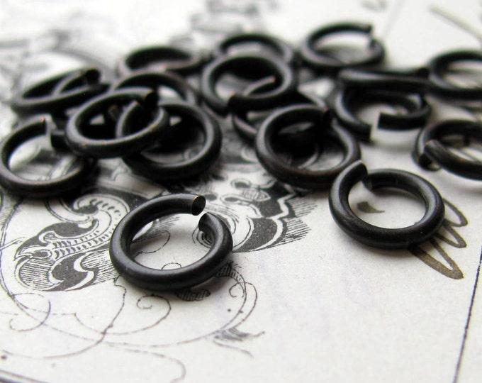 7mm jump ring, black antiqued brass, 17 gauge (30 black jump rings) 7mm brass jumpring, matte black patina, lead nickel free, made in USA