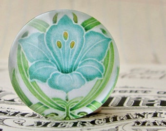 "From the ""Art Nouveau Ceramic Tiles"" series, 25mm round glass cabochon, Jugendstile, handmade, bottle cap, 1 inch circle, blue flower"