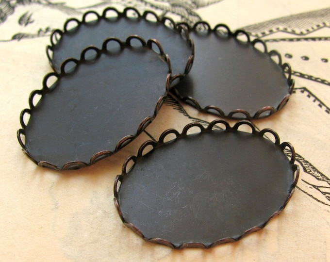 25x18mm lace edge bezel cup settings, black antiqued brass (4 oval scalloped trays)  25x18 18x25mm frame for cabochon