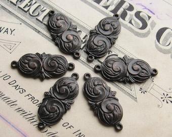 15mm chubby mini paisley link, dark antiqued brass, 6 links, aged black patina, swirl design, Fallen Angel Brass, graceful design