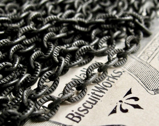 """Textured black cable chain """"Caravaggio"""" 4x3mm, etched matte black brass chain (per foot) solid brass bulk necklace chain, made in USA"""