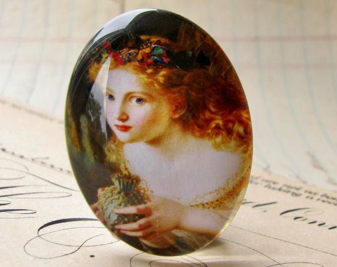 From our Magical Maidens collection - Butterfly fairy, handmade glass oval cabochon, 25x18mm, artisan crafted in this shop, art history