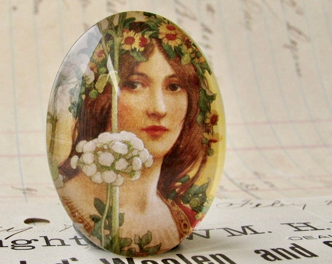 Art Nouveau, Élisabeth Sonrel, handmade 40x30mm or 25x18mm glass oval cabochon, sunflower, orange, flower tiara crown, woman face