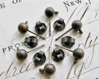 Rustic black brass ball post earring with ear nuts, 5mm ball with loop (6 weathered ear ring stud) antiqued, lead nickel free