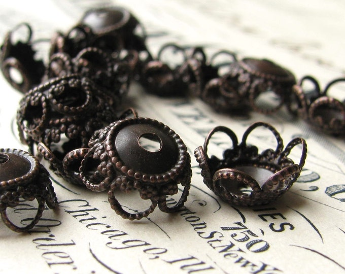 10mm bead cap, filigree flower, scalloped petals, black antiqued brass (6 bead caps) oxidized patina, nickel free, made in USA