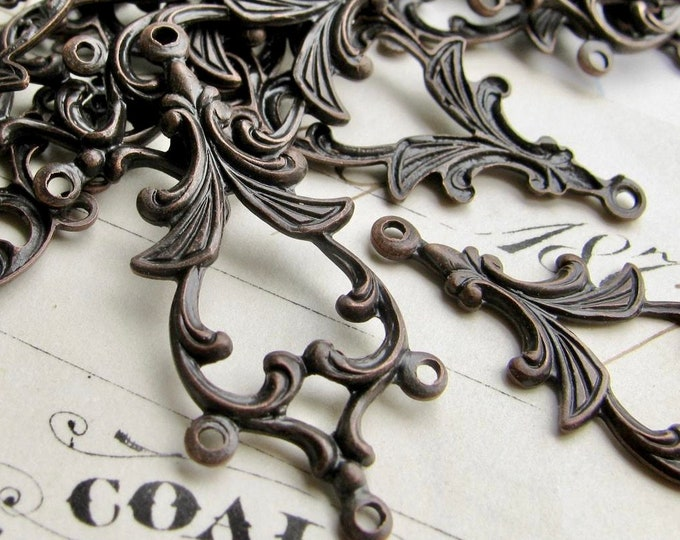 34mm chandelier drop for earrings, black antiqued brass, (4 aged black earring links) multi strand dangle vintage style, four rings