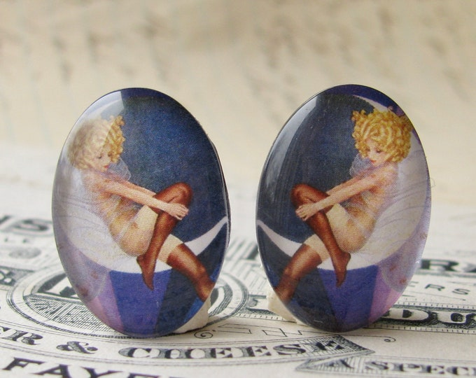 1920s vintage stocking ad, 25x18mm glass oval cabochons, mirrored pair, opposites, flapper era, Jazz fashion, Blue Moon