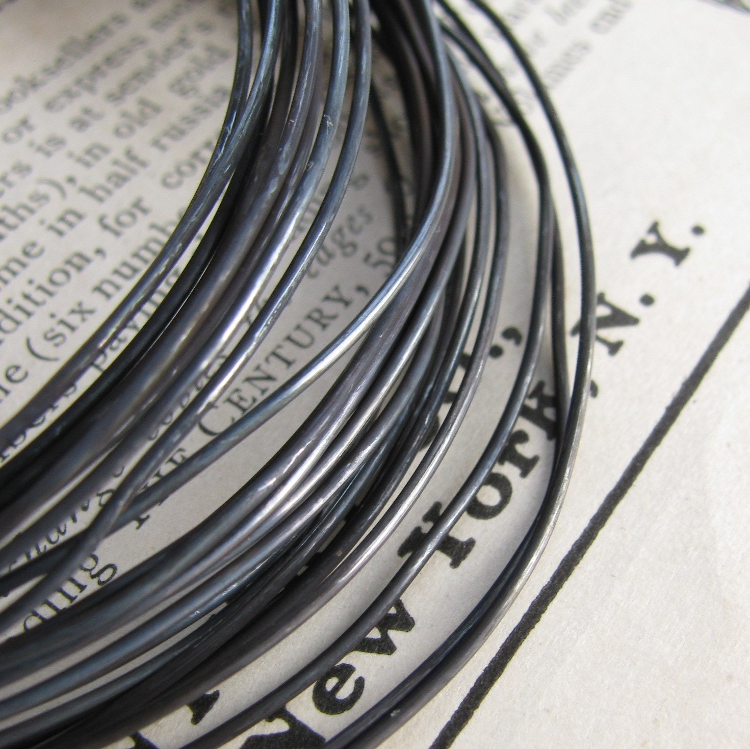 20 gauge hand antiqued wire, aged black patina, dead soft (10 ft ...