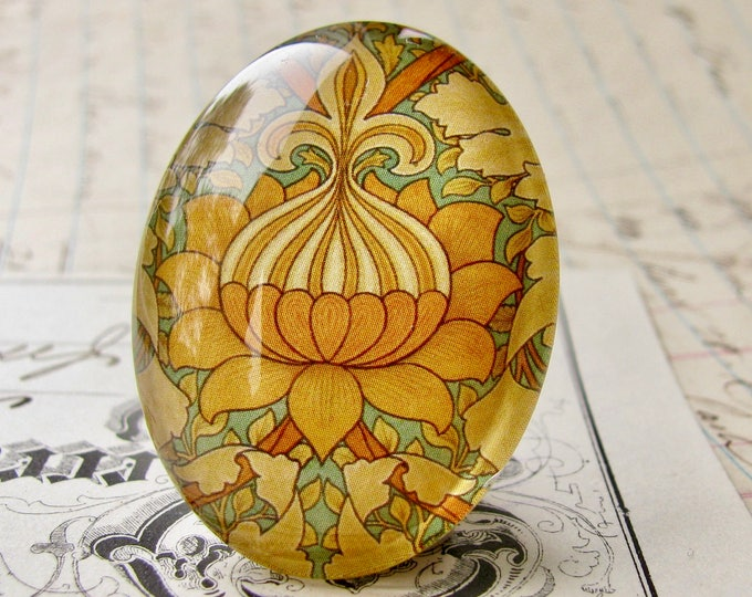 """William Morris collection """"St. James"""" cabochon, 40x30mm glass oval cabochon, wallpaper print, handmade in this shop, 40x30 30x40mm, orange"""