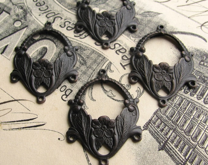 Floral chandelier earring link, black antiqued brass (4 drops) 3 to 1 reducing connectors, aged black patina, flower earring link