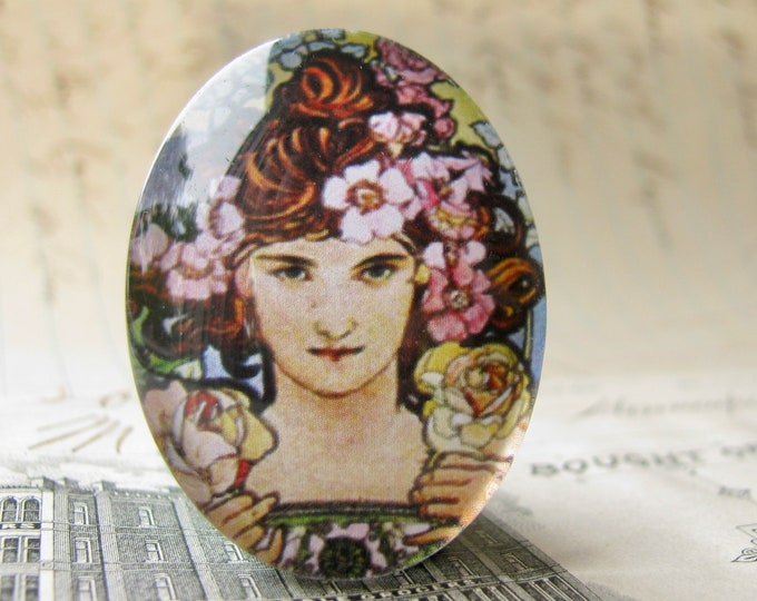 "From Alfons Mucha's ""Flowers"" series: ""The Rose"", handmade 40x30 40x30mm glass oval cabochon, Art Nouveau collection"
