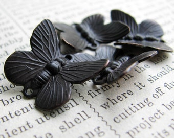 Butterfly jewelry connector links, antiqued black, 4 insects, aged dark patina, garden woodland creatures, wings, bugs, Fallen Angel Brass