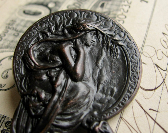 "Art Nouveau ornament ""Poetry"" from Mucha's ""Four Arts"" antiqued brass stamping, aged black patina, 45mm, Harvest Maiden OR-FF-017"