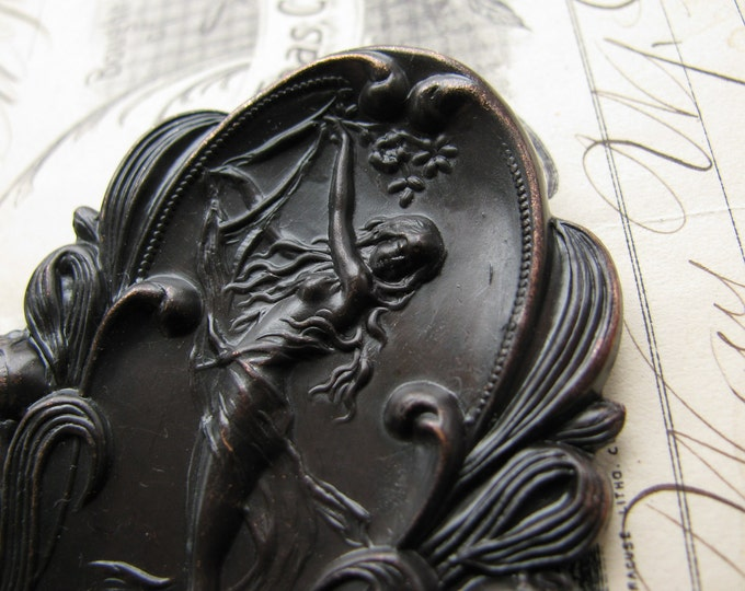 Art Nouveau ornament, water nymph, large, black antiqued brass - 68mm, 3 inches, woman, flat brass stamping, oval black brass