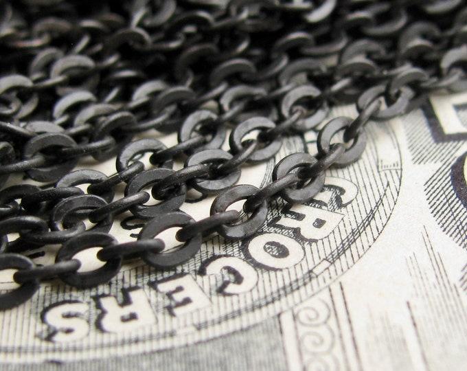 "Delicate chain ""Klimt"" Petite flat cable necklace chain, bulk black brass, soldered links, 3x2mm, black patina (per foot) matte black chain"