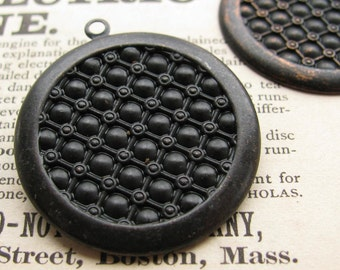 25mm round textured setting, black antiqued brass, 4 brass trays, flat back setting, 25mm brass frame for cabochons, bottle cap size, 1 inch