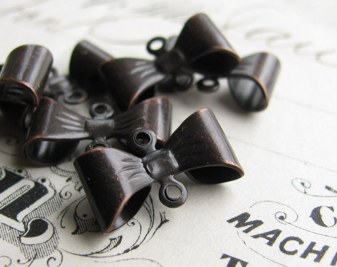 Belle Époque style brass bow links, black antiqued brass, 15mm, tied ribbon connector (4 double loop connectors) Fallen Angel Brass