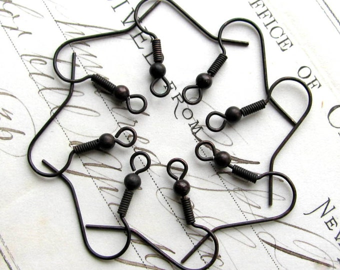 Fish hook ear wires with bead and coil, 25mm, black antiqued brass (8 black earwires) shephard shepherd hook, black patina, black ear wire