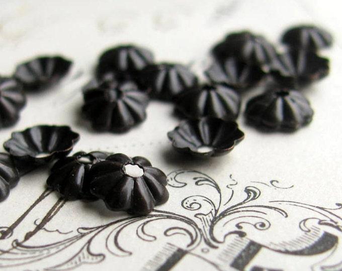 5mm bead cap, black brass bead caps (50) mini, small, tiny black aged patina, made in the USA, lead nickel free, brass daisy, beadcap