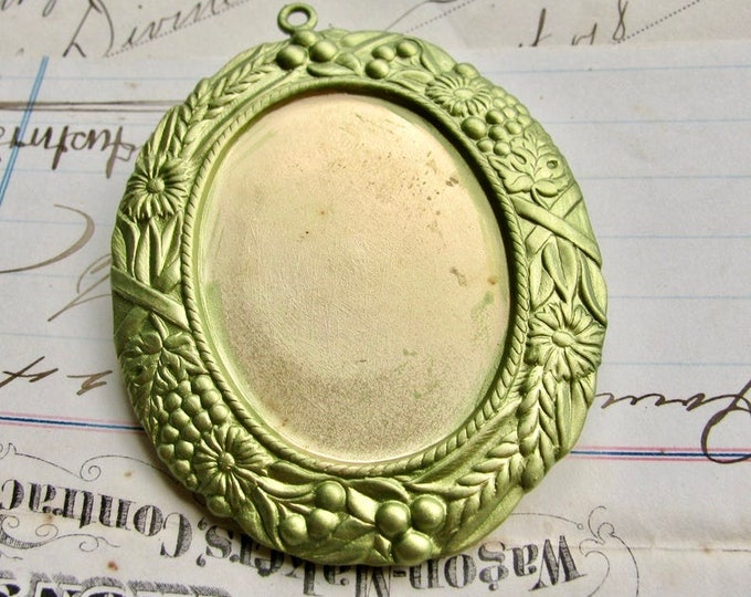 NEW! Art Nouveau oval cabochon frame 40x30mm 30x40mm, Absinthe finish, floral setting, flowers, green patina pendant tray