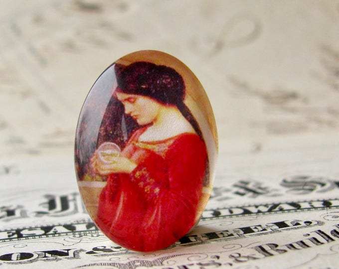 """John William Waterhouse """"The Crystal Ball"""" 25x18mm glass oval cabochon, artisan crafted in this shop, Art History collection, photo glass"""