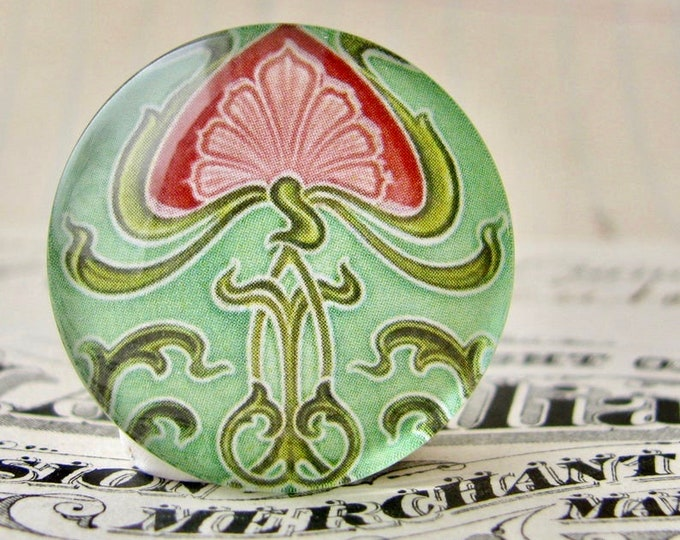 """From the """"Art Nouveau Ceramic Tiles"""" series, 25mm round glass cabochon, handmade, bottle cap, inch circle, green red flower"""