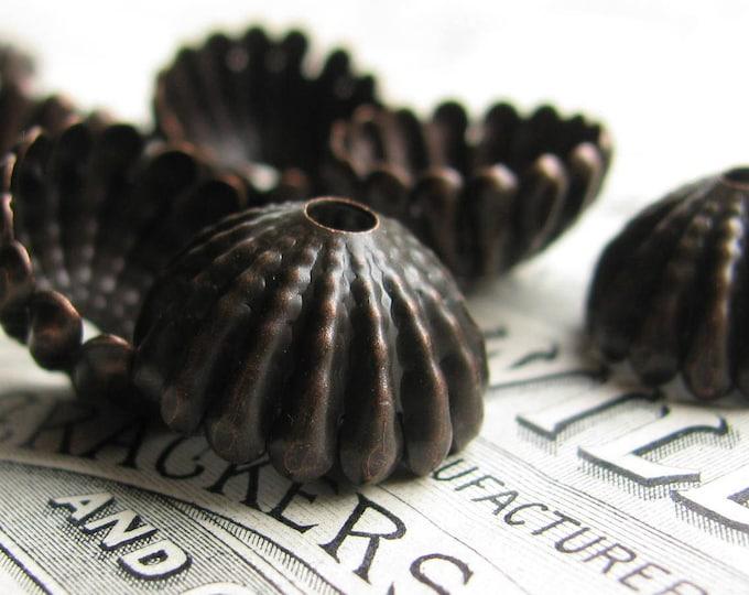 Large sea urchin, 15mm domed beadcap (4 black bead caps) black antiqued brass, tassel top, ridged hemisphere, aged patina