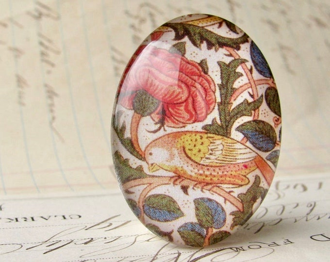 NEW! William Morris collection - bird & flower, 40x30mm or 25x18mm glass oval cabochon, wallpaper print, handmade in this shop, Art Nouveau