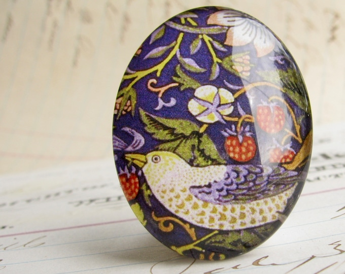 William Morris collection, Strawberry Thief pattern, bird & flower, 40x30mm glass oval cabochon, wallpaper print, Art Nouveau