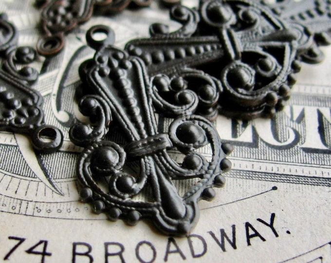 Catherine of Aragon openwork Etruscan filigree drops, black antiqued brass, 22mm long (4 charms) earring drop, aged patina dangle