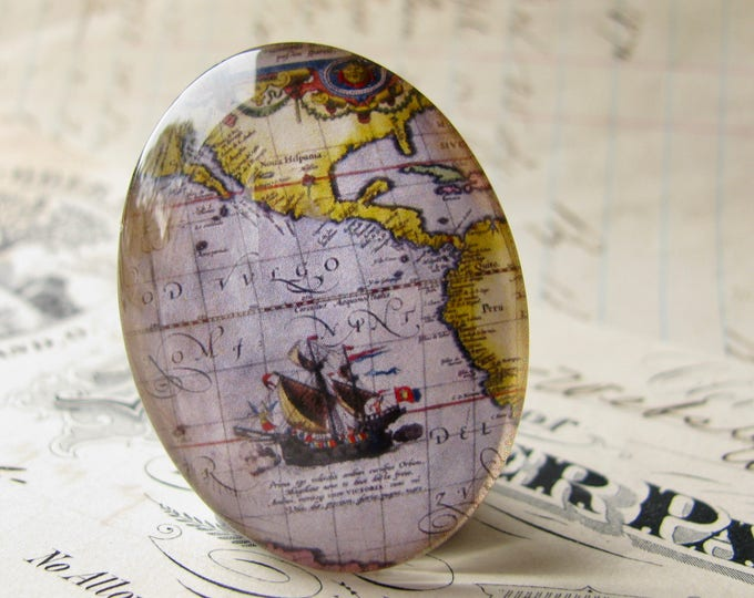Historical Maps collection, purple ship map detail, vintage sailing map, travel, handmade oval glass cabochon, 40x30mm or 25x18mm