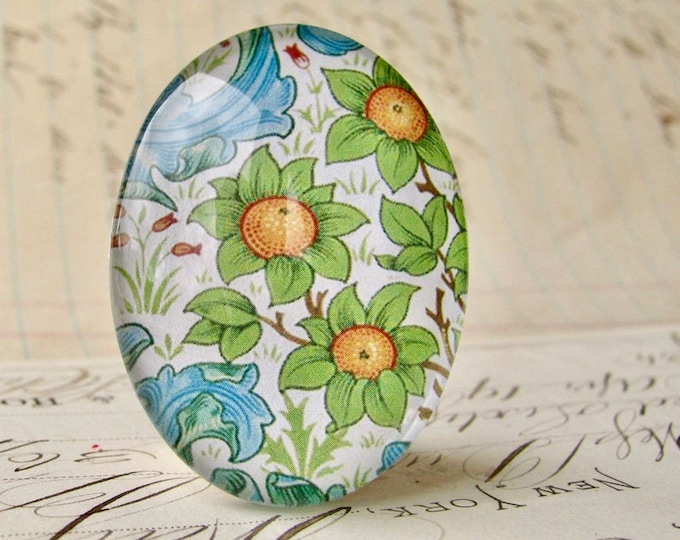 NEW! William Morris collection - orange fruit flower, 40x30mm glass oval cabochon, wallpaper, handmade in this shop, 40x30, Art Nouveau