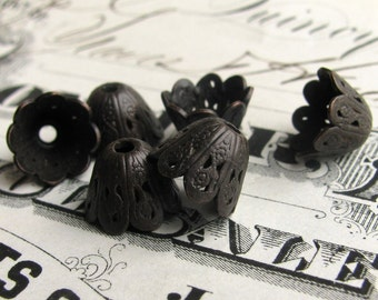 8mm scalloped cone bead cap, dark antiqued brass (4 small bead caps) oxidized black patina, lead and nickel free, made in USA BC-G-002