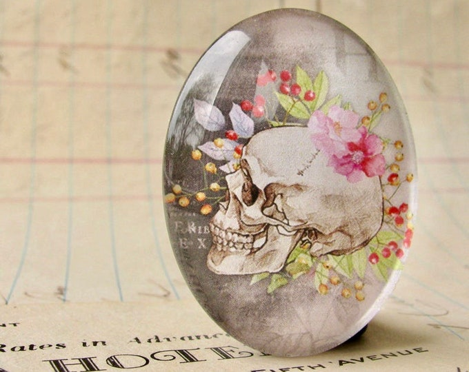 Skull with pink garden flowers, 40x30mm glass oval cabochon, handmade in this shop, feminine macabre stone, bones rose