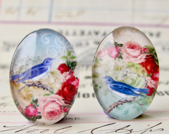 Asymmetrical pair of songbirds with pink roses, bluebirds for earrings, opposite facing, handmade glass cabochons, 25x18mm ovals, left right