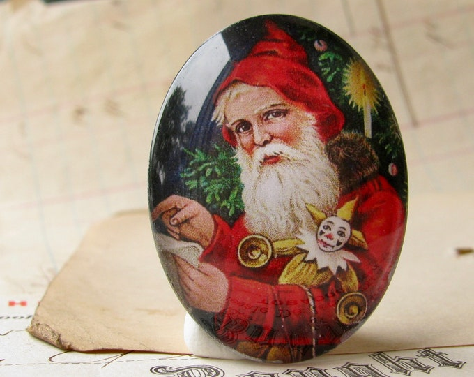 NEW! Victorian Father Christmas handmade glass oval cabochon, 40x30mm, winter holiday, vintage Santa, red white, 30x40mm, traditional image