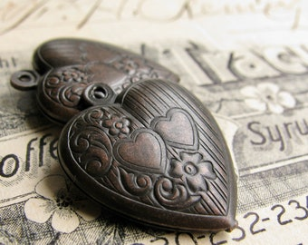 Pair of hearts charm, 25mm puffed heart (2 charms) black antiqued brass, black heart, friendship, best friends, love pendant
