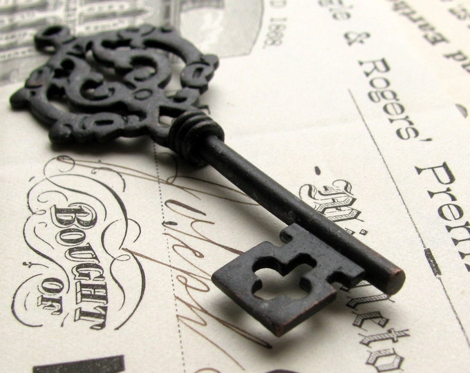 Large skeleton key pendant from Bad Girl Castings, antiqued black key, aged black pewter, two sided barrel shaft