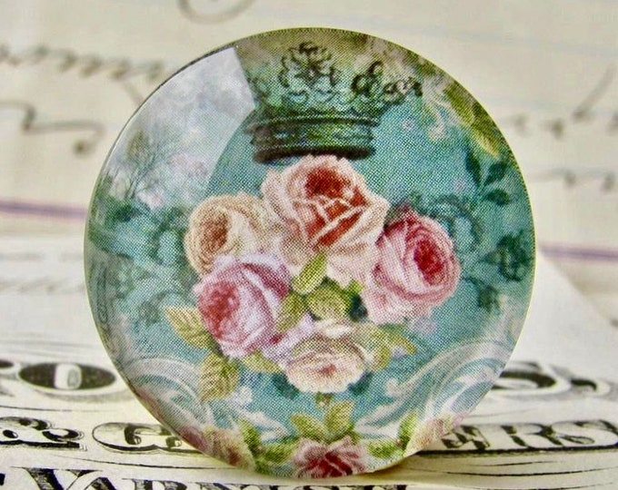 Pink Victorian roses on aqua blue, handmade glass cabochon, 25mm, Fabulous Florals collection, round 1 inch bottle cap size
