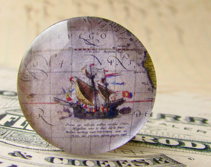 Historical Map, purple ship map detail, vintage sailing map, travel, handmade round glass cabochon, 25mm bottle cap size, one inch