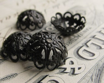 14mm domed, scalloped filigree bead cap - (4) dark antiqued brass bead caps, black bead caps, aged black patina - BC-SV-031